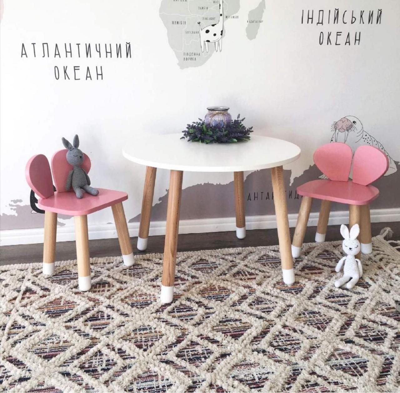 Детский стол и 2 стула (деревянный стульчик мишка и круглый столик)