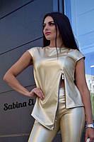Женский костюм из эко кожи: кофта и лосины  в расцветках. ЕЛ-4-0120