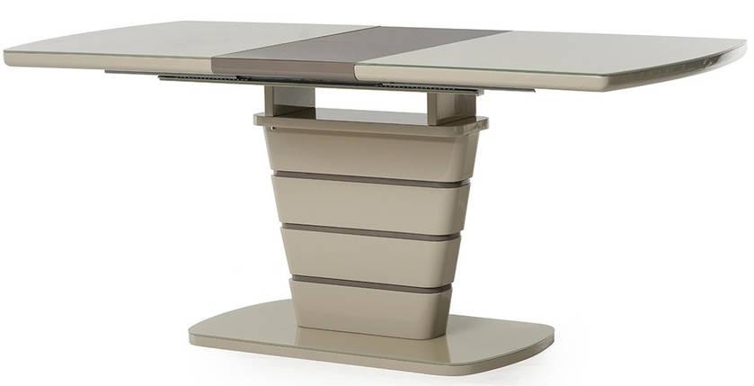 Стол раскладной МДФ+стекло TM-59 140-180 см капучино/латте TM Vetro Mebel, фото 2