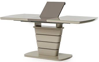 Стол раскладной МДФ+стекло TM-59 140-180 см капучино/латте TM Vetro Mebel, фото 3