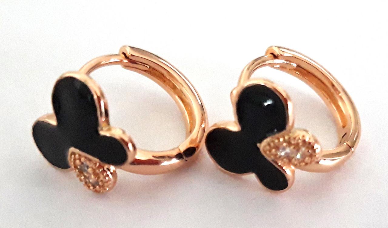 Серьги Xuping позолота маленькие кольца бабочка 1,1см