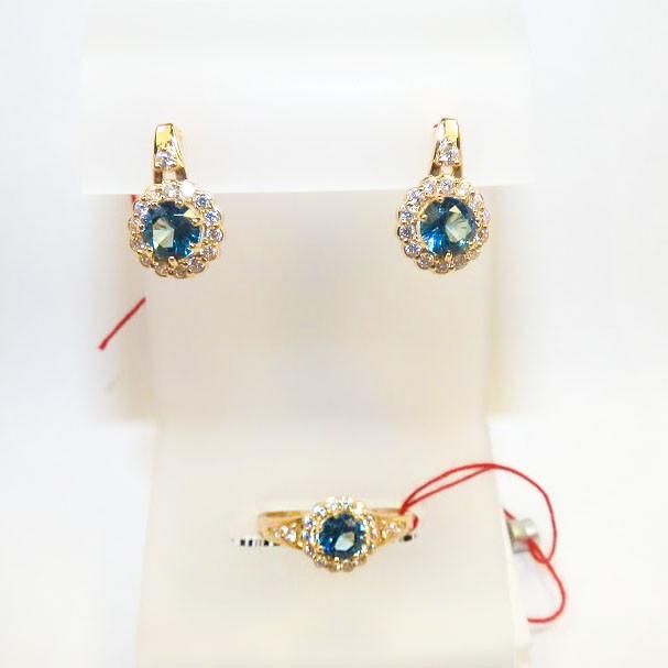 Золотые серьги и кольцо с лондон топазом Марианна