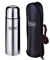 Классический питьевой термос 1л + чехол (нержавеющая сталь, одна чашка) А-Плюс