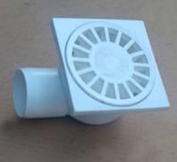 Трап для душа d 50 / 100x100, боковой 90°, решетка пластиковая (Украина), канализационный
