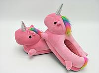 Женские тапочки игрушки розовые Единороги, тапочки игрушки, тапочки кигуруми, тапочки для дома, тапочки іграшки, тапочки кигуруми, тапочки для дому