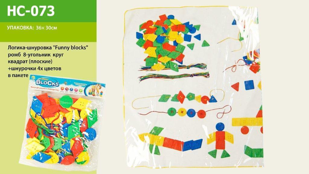 Логика-шнуровка ромб, 8-уголник, круг, квадрат, шнурки, HC-073