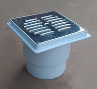 Трап для слива d 110 / 150x150, прямой, нержавеющая решетка (Украина), канализационный