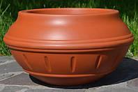 Вазон уличный ф 350 мм, садово - парковый пластиковый для цветов (Термочаша - двойные стенки) Терракот.