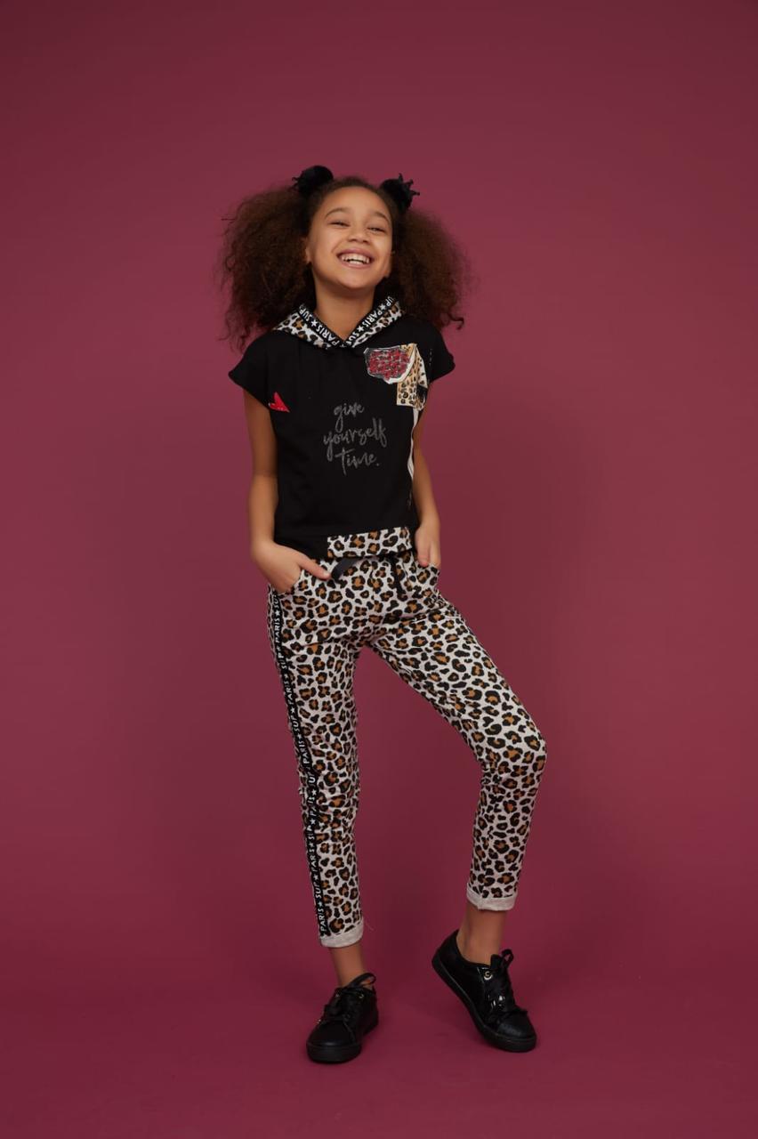 Комплект футболка с капюшоном и лосины для девочек Турция Little star