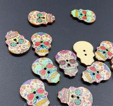 """Гудзики декоративні дерев'яні """"Череп кольоровий""""(3 шт), розмір 17 х 25 мм, мікс"""