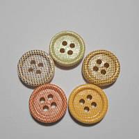 Пуговицы декоративные деревянные , круглые , 15 мм, микс, 5 шт