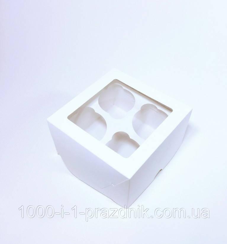 Коробка для капкейков и маффинов белая с окном (4 шт.)