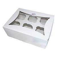 Коробка для капкейков и маффинов белая с окном (6 шт.)