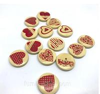 """Пуговицы декоративные деревянные, """"Сердце , круглые , 20 мм, микс, 5 шт"""