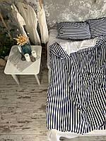 Комплект постельного белья Полуторный (150х220 см) Ранфорс синие полоски.
