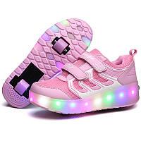 Роликовые кроссовки с LED подсветкой, розовые на 2-х колёсах, размеры 30,34 (LR 1219)
