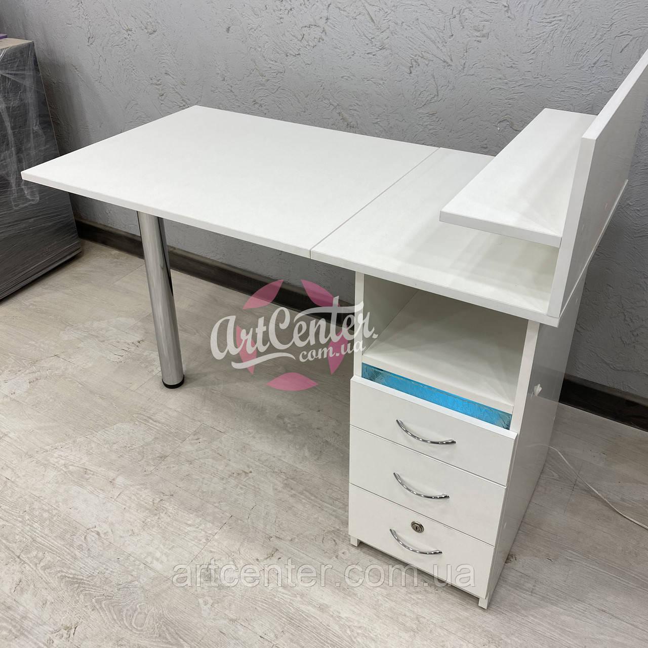 Стол для мастера маникюра белого цвета с УФ лампой в ящике