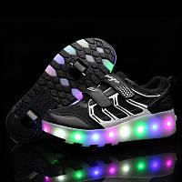 Роликовые кроссовки с LED подсветкой, черные на 2-х колёсах, размеры 30-34 (LR 1220)