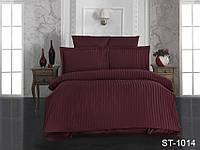 ✅ Комплект  постельного белья  двуспальный Евро (Страйп-сатин) TAG ST-1014 (Бордовый)