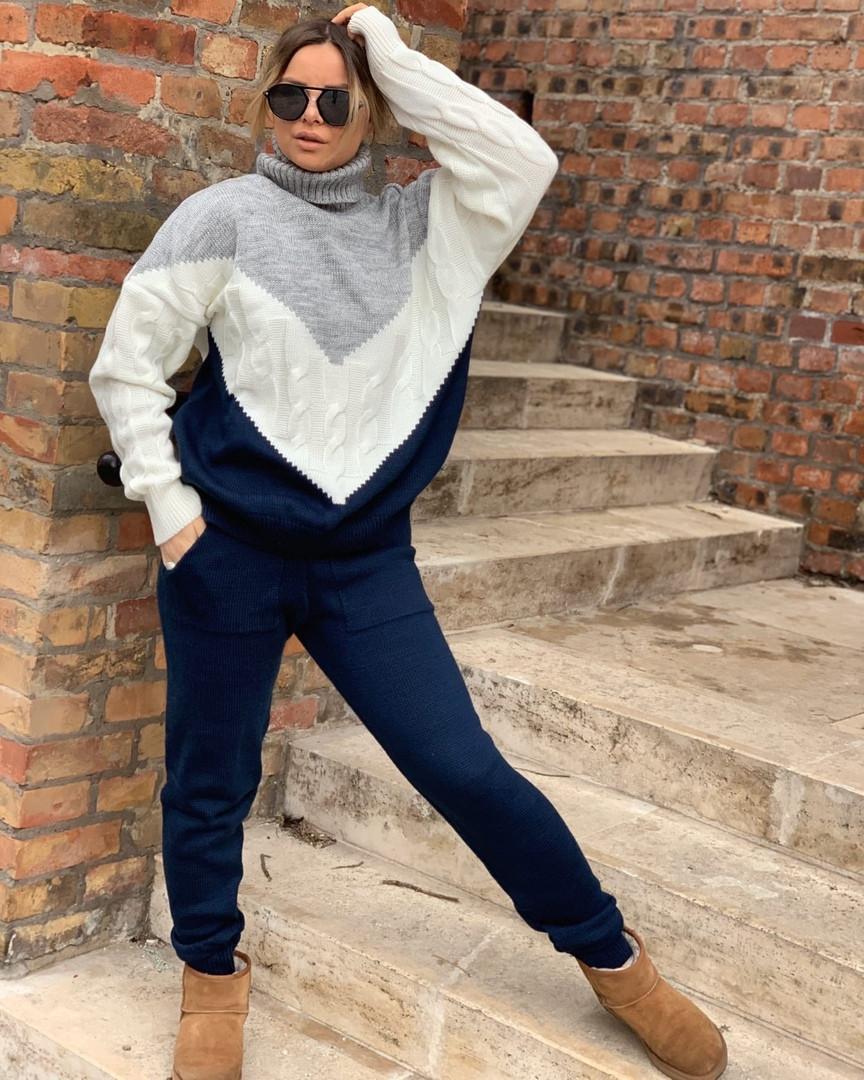 Стильный женский вязаный костюм:свитер и штаны