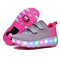 Роликовые кроссовки с LED подсветкой, серый с малиновым на 2-х колёсах, размеры 30-38 (LR 1221)