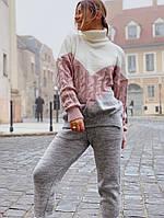 Женский стильный теплый вязаный костюм:свитер и штаны