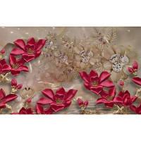 Фотообои Бордовые цветы 3д (10504)