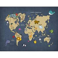 Фотообои Карта мира с животными (10508)