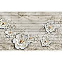 Фотообои  Цветы на фоне стены (10513)