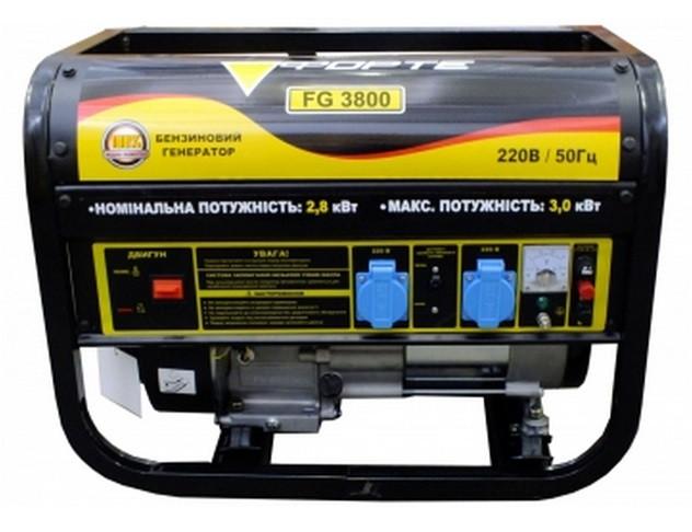 Генератор бензиновый Forte 15 л 2.8 кВт FG3800