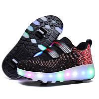 Роликовые кроссовки с LED подсветкой, черные на 2-х колёсах, размеры 30-38 (LR 1222)