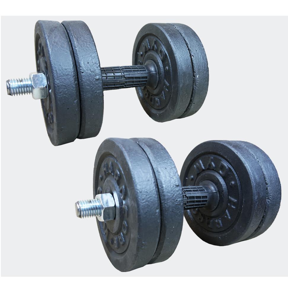 Гантелі набірні гранілітові 2х7 кг з гумовою ручкою (загальна вага 14 кг) розбірні для дому