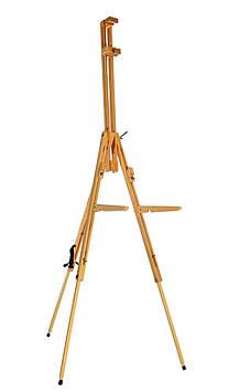 Мольберт-тренога раскладной двойной с держателем для палитры 185см, Высота холста до 108 см. Бук