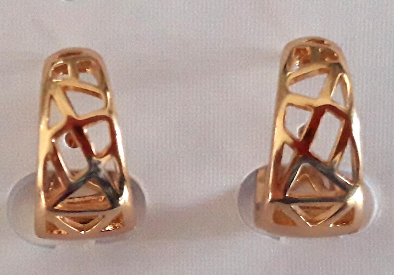 Серьги Xuping позолота кольца с геометрическим узором 1,5х0,7см