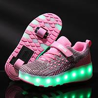 Роликовые кроссовки с LED подсветкой, сиреневый с розовым на 2-х колёсах, размеры 30-37 (LR 1223)
