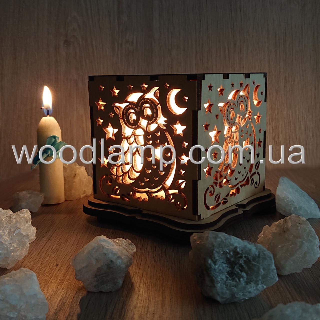 Соляной светильник Куб Сова