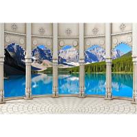 Фотообои 3д колонны вид на горы (10517)