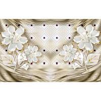 Фотообои 3D Белые цветы на бежевом (10523)