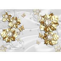 Фотообои  Золотые цветы на шелке (10524)