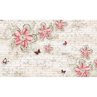 Фотообои  3D Драгоценные цветы на кирпичной стене (10525)