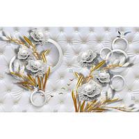 Фотообои 3d серебряные украшения с жемчугом и золотым листом (10547)