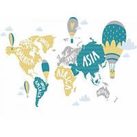 Фотообои Детская карта мира с воздушными шарами(10552)
