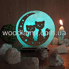 Соляной светильник круглый маленький Коты на луне-2