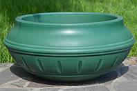 Вазон уличный ф 450 мм, садово - парковый пластиковый для цветов (Термочаша - двойные стенки) Зеленый
