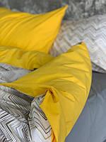 Комплект постельного белья Полуторный (150х220 см) Ранфорс цвет желтый и зигзаги..