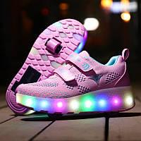 Роликовые кроссовки с LED подсветкой, розовый с голубым на 2-х колёсах, размер 30(19см) (LR 1226)