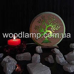 Соляная лампа круглая Дерево
