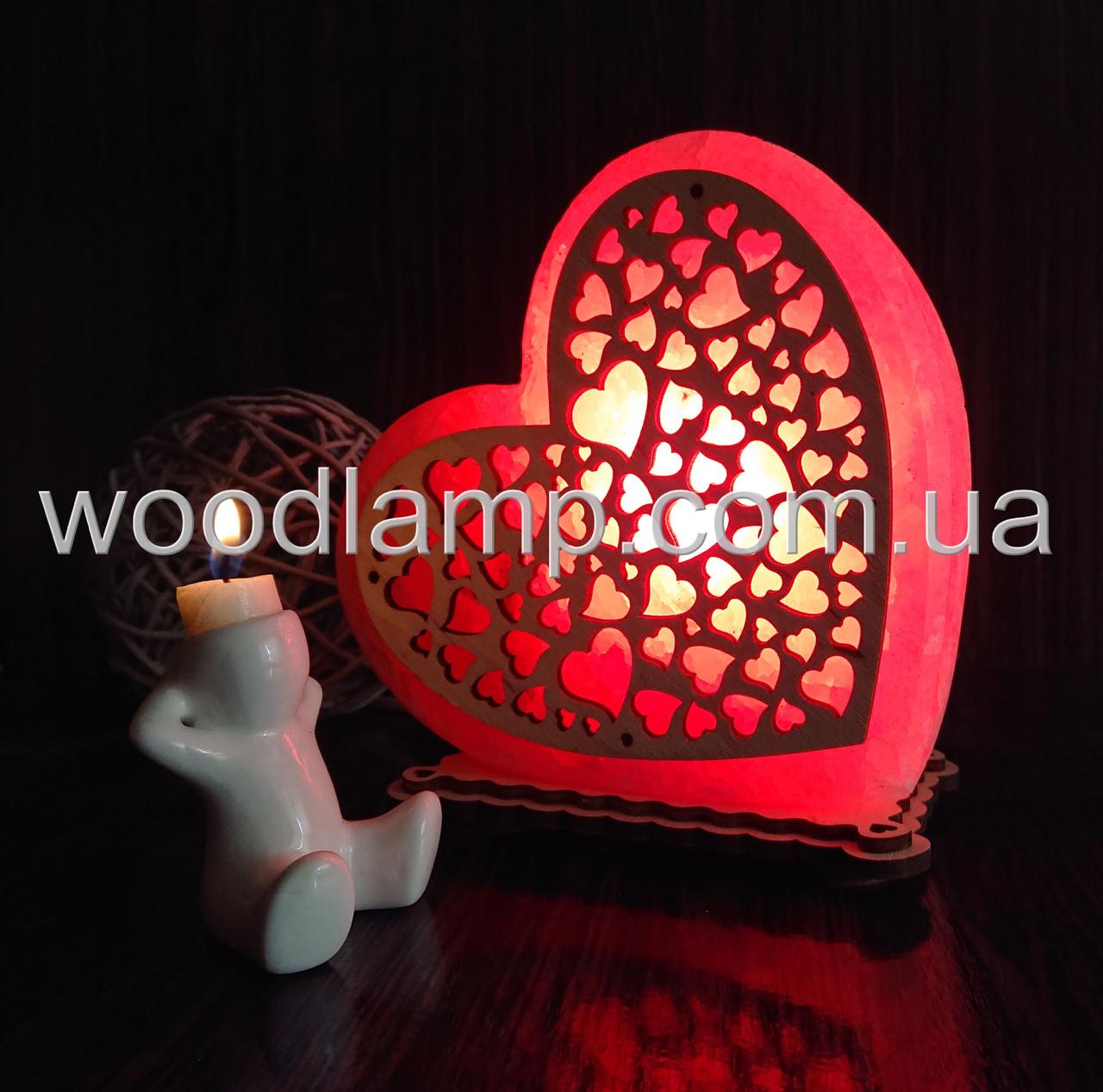 Соляной светильник Сердце большое Сердечки