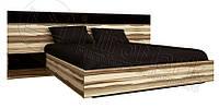 Кровать с прикроватными тумбами Sonata / Соната MiroMark 160х200 орех балтимор / черный глянец
