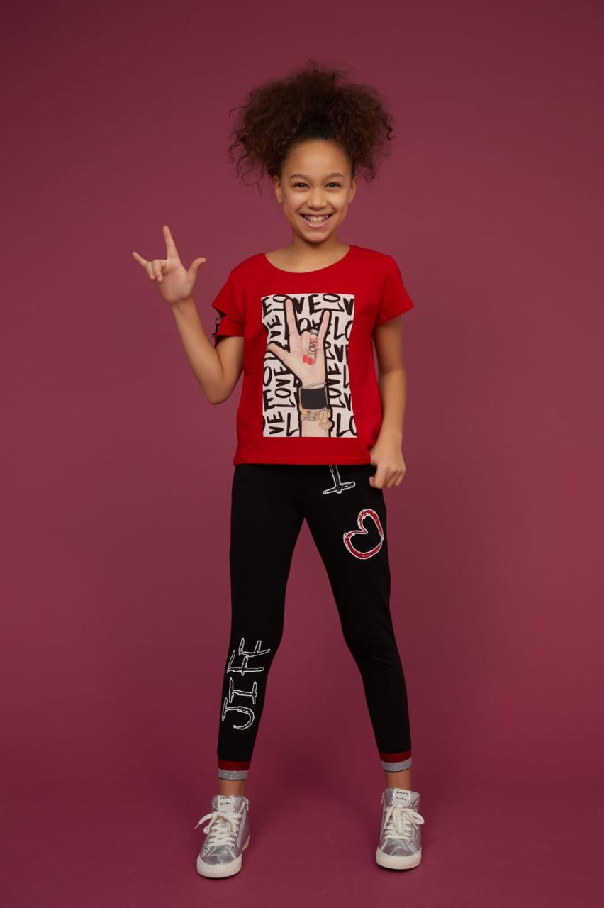 Стильный комплект футболка с леггинсами Турция Little star